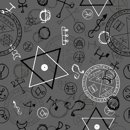 Seamless background with pentacles and magic symbols on grey. Hand drawn vector illustration. Vectores