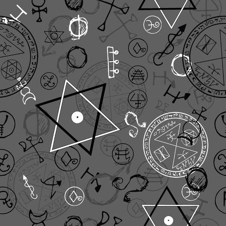 cabala: Seamless background with pentacles and magic symbols on grey. Hand drawn vector illustration. Illustration