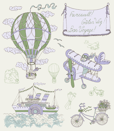 Design set with vintage means of transportation and banner. Retro air balloon, plane, bicycle and steamship. Hand drawn vector illustration on travel theme 일러스트
