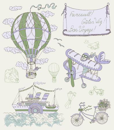 Diseño ajustado con medios de transporte de la vendimia y la bandera. Globo de aire retro, avión, bicicleta y barco de vapor. ilustración vectorial de dibujado a mano en el tema de los viajes Ilustración de vector
