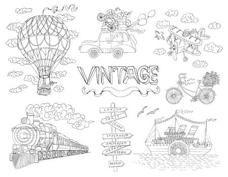 Design doodle set with old means of transportation. Vintage illustration of ship, train, plane and bicycle.