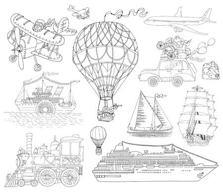 Mano doodle conjunto con diversos medios de transporte, la vendimia blanco y negro ilustración línea de arte, globo de aire, avión, barco, tren y coche.
