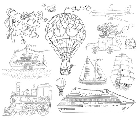 Hand drawn doodle set with various means of transport, vintage black and white line art illustration, air balloon, plane, ship, car and train.