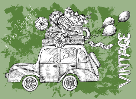 Green happy birthday card with old retro car, luggage, text and balloons on textured background. Doodle line art illustration with hand drawn design elements. Have a good trip text in French. Vetores