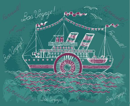 Hand drawn illustration with old steam ship on textured background. Doodle line art illustration with hand drawn design elements 일러스트