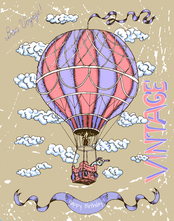 Retro Happy Birthday Card With Air Balloon Banner And Clouds