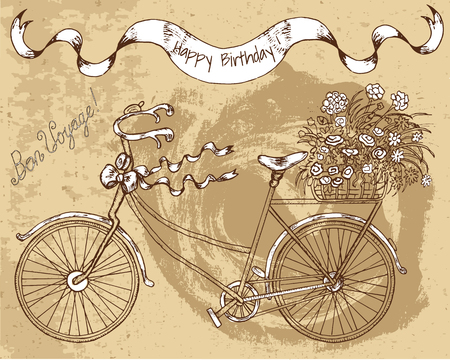 decorated bike: Hand drawn decorated bike with flowers and text on brown textured background. Doodle line art illustration with bicycle and other design elements. Have a good trip text in French.