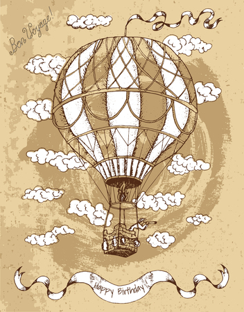 Vintage Happy Birthday Card With Hot Air Balloon Banner Text