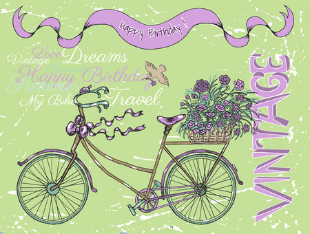 Vintage Happy Birthday Card With Retro Bike Text And Flowers
