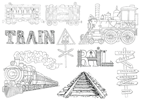 old train: Black and white set with vintage locomotives and old train theme details. Doodle line art illustrations with hand drawn design elements