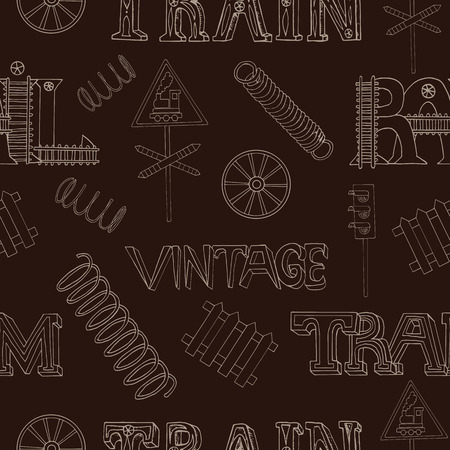 old train: Seamless background with old train theme and technical details on brown. Doodle line art with hand drawn design elements Illustration
