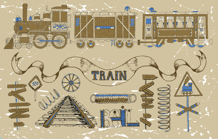 hand rails: Vintage set with old train theme: locomotive, passenger and cargo wagon, road signs, springs, rails and technical details. Doodle line art illustrations with hand drawn design elements Illustration