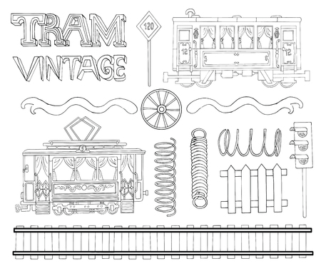 hand rails: Vintage black and white collection with tram theme objects. Doodle line art illustrations with hand drawn design elements - rails, wheels, springs and symbols