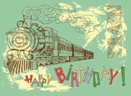 birthday train: Retro happy birthday card with steam train and colorful letters on green background for boys. Line art illustration with hand drawn design elements and text, vintage travel and transportation theme.