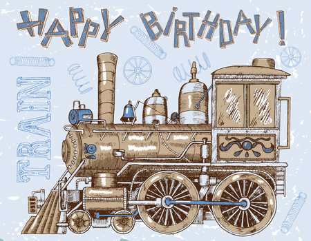 historical romance: Vintage happy birthday card with retro steam train and letters for boys. Line art painted illustration with hand drawn design elements, vintage travel and transportation theme.