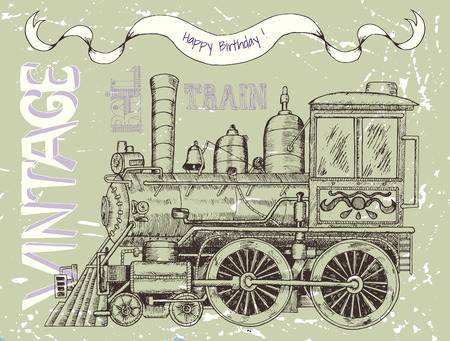 historical romance: Happy birthday card with retro steam locomotive, banner and text on green scratched background for boys. Line art illustration with hand drawn design elements, vintage travel and transportation theme
