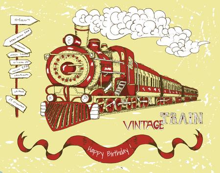 Retro glücklich Geburtstagskarte mit alten roten Zug, Banner und Text auf gelbem Hintergrund. Linie Kunst-Illustration mit Hand gezeichnet Design-Elemente, Jahrgang Reisen und Transport-Thema.