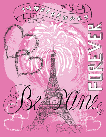 amur: Valentines Day card with the Eiffel Tower, hearts, text and salute on pink. Line art doodle illustration with hand drawn elements. Love and holiday theme
