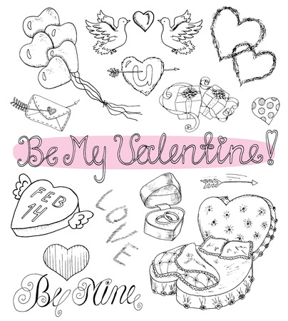 day bed: Valentines Day design set with hearts, letters, bed, text, balloons and gifts. Line art doodle illustration with hand drawn black and white elements. Holiday collection