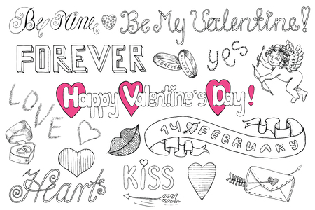 Valentines Day Doodle Set With Text Letters And Love Symbols