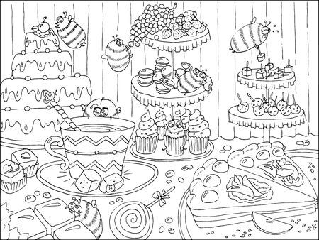 dibujado a mano ilustración en blanco y negro con las abejas divertidas en confitería, obras de arte con pasteles, dulces y caramelos, comida y fiesta tema, página para colorear para niños y adultos, la línea de arte del doodle Ilustración de vector