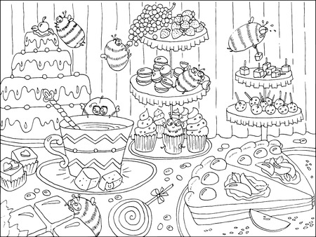 Black and white hand drawn illustration with funny bees in sweetshop, artwork with cakes, sweets and candies, food and celebration theme, page for coloring book for adults and kids, doodle line art