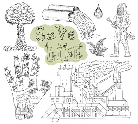 pollution art: Doodle set with pollution, dirty factory, text and eco icons. Hand drawn line art symbols and illustrations, green world concept, environment protection theme, isolated on white Illustration