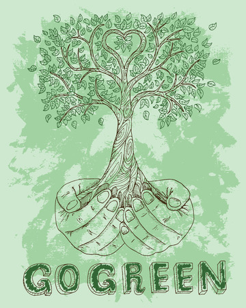 hands holding tree: Ecological poster with human hands holding tree on green textured background. Hand drawn line art bio symbol and illustration, green world concept, environment protection theme
