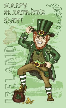 dwarf: St. Patricks Day card with Leprechaun and lettering Ireland on textured background. Colorful doodle vector illustration with hand drawn elements of smiling dwarf and text vertical.