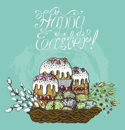 Colorful Easter card with cakes, willow and painted eggs in wicker basket on blue textured background. Line art hand drawn vector illustration. Still life with traditional symbols. Doodle drawing Illustration