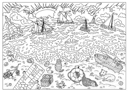 Black and white hand drawn illustration with waves, sailing ships, light house and man resting on the beach. Sea coast after storm. Graphic page for coloring book for adults and kids, doodle line art