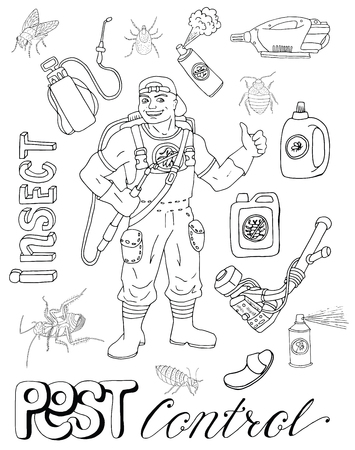 pest control equipment: Hand drawn set with pest control man or exterminator, insects as fly, bugs and cockroaches, equipment isolated. Doodle line art illustration and graphic sketch, infestation vector with icons Illustration