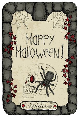 invader: Halloween vintage card with human skull, ivy, corner cobweb and scary spider in stone frame vertical. Doodle line art illustration and hand drawn graphic sketch, mystic concept