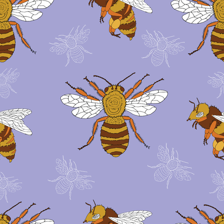 Seamless summer pattern with cute colorful bee. Doodle illustration with vintage elements, hand drawn repeated background