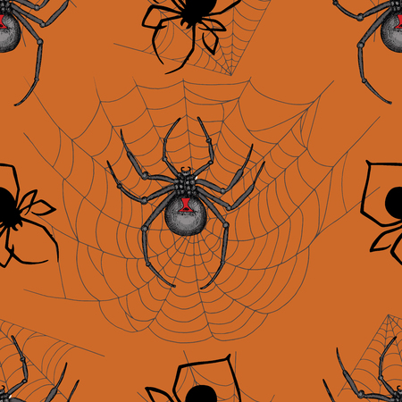 widow: Scary seamless pattern with black widow spiders and cobweb on orange background. Halloween doodle illustration and hand drawn repeated background