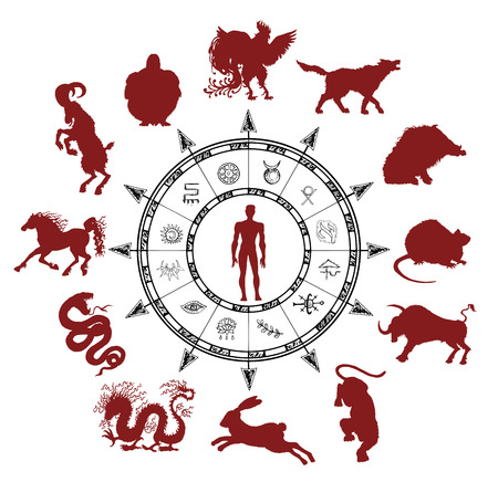 Astrology chart with silhouettes of chinese zodiac animals, human and mystic symbols. Asian new year calendar signs.  Graphic set with hand drawn esoteric and occult illustrations. Illustration