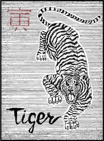 타이거와 글자 조디악 기호 새겨진 된 그림. 별자리 및 아시아 신년 달력의 점성 학 기호. 동물과 그래픽 라인 아트입니다. 중국어 hieroglyph는 Tiger를 의