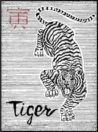 Engraved illustration of zodiac symbol with Tiger and lettering. Horoscope and astrological sign of asian new year calendar. Graphic line art with animal. Chinese hieroglyph means Tiger