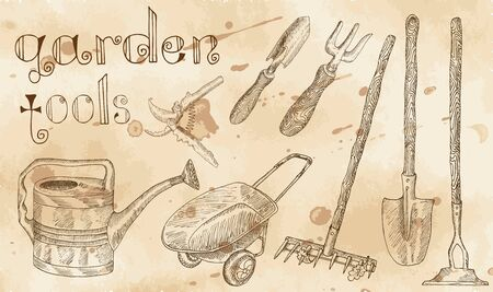 Vintage set with garden tools with hand drawn elements on old paper background