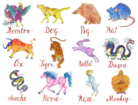 Colorful astrology set with drawings of twelve chinese zodiac animals isolated on white. Vintage holiday collection of new year calendar and horoscope symbols.  Watercolor and graphic illustrations Stock Photo