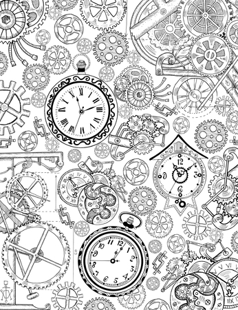 Coloring book page with mechanical details, cogs, gears and old clocks. Black and white background with graphic linear engraved drawings, vintage illustration with retro watch, steampunk style Archivio Fotografico