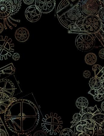 Hand getrokken frame met mechanische onderdelen, oude horloge, toestellen en radertjes op een zwarte achtergrond. Vintage technologie illustratie in steampunkstijl Stockfoto