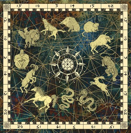Mystic background with chart of twelve zodiac animals and compass. Vintage holiday collection of new year calendar and horoscope engraved symbols. Graphic illustration, occult and esoteric concept