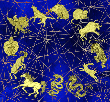 occult: Blue mystic background with chart of twelve zodiac animals. Vintage holiday collection of new year calendar and horoscope engraved symbols.  Graphic doodle illustration, occult and esoteric concept