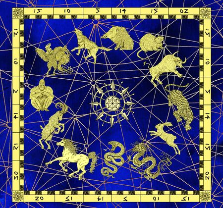 year of snake: Mystic background with zodiac animals in golden frame and compass. Vintage holiday collection of new year calendar and horoscope engraved symbols. Graphic illustration, occult and esoteric concept