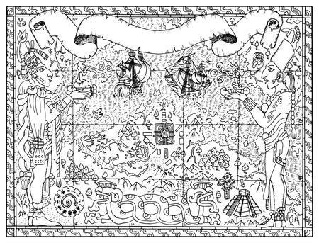 Maya, Azteken Oder Piraten-Karte Mit Zwei Götter, Schiffe Und ...