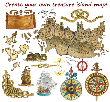 Set for treasure island or pirate map isolated. Hand drawn graphic and watercolor illustrations. Fantasy land, wind rose and ships. Vintage adventures, treasures hunt and old transportation concept Stock Photo