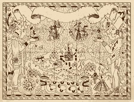 Oude mayan, aztec of piraat kaart met twee goden, schepen en fantasie land op oude papier achtergrond. Hand getrokken vector illustratie. Vintage avonturen, schatten jagen en oud vervoersconcept