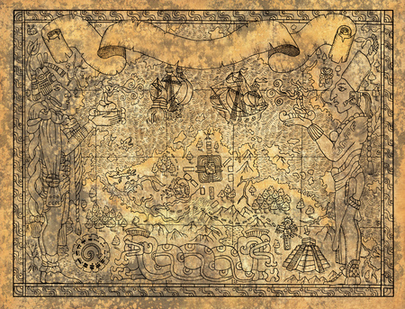 고 대 마 야 또는 aztecs 신, 오래 된 선박 및 사원에 오래 된 종이 질감 배경지도. 손으로 그린 그림입니다. 빈티지 모험, 보물 사냥 및 오래된 교통