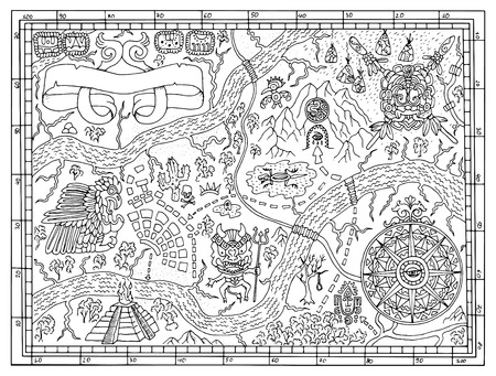 Ancient Maya or pirate map for adult or kids coloring book. Hand drawn vector illustration with treasure hunt, vintage adventures and old transportation concept. Doodle drawing with compass wind rose Ilustração